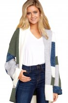 Green Blue Multi Colorblock Open Front Cardigan