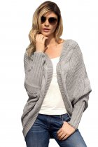 Gray Luxe Cable Knit Open Front Cardigan