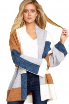 Khaki Blue Multi Colorblock Open Front Cardigan