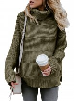 Sage Green Cozy Long Sleeves Turtleneck Sweater
