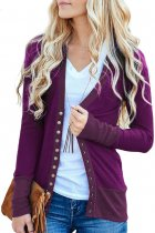 Fashionable Purple 3/4 Sleeve Snap Cardigan