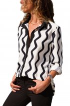 Black White Wavy Stripes Button Down Blouse