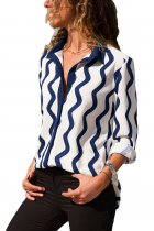 Navy White Wavy Stripes Button Down Blouse