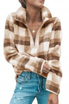 Khaki Plaid Zip Neck Furry Sweatshirt