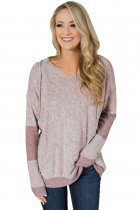 Dusty Pink V Neck Patchwork Design Hoodie