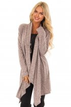 Taupe Draped Open Front Asymmetrical Cardigan