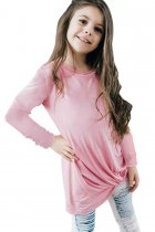 Pink Twist Knot Detail Long Sleeve Girl's Top