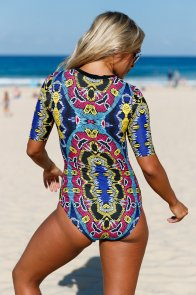 Abstract Print Zip Front Half Sleeve One Piece Swimsuit