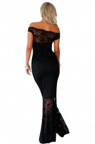Black Bardot Lace Fishtail Maxi Dress