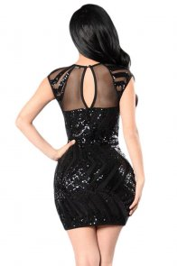 Black Sequin Mesh Cutout Sexy Club Dress