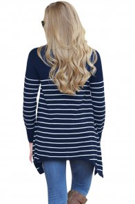 Navy Striped Knit Pullover Sweater Top