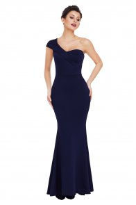 Navy Blue Sexy One Shoulder Ponti Gown