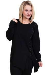 Black Lace Up Side Lightweight Sweater