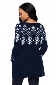Navy A-line Casual Fit Christmas Fashion Sweater