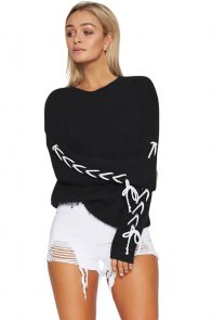 Black Lace up Sleeve Sweater