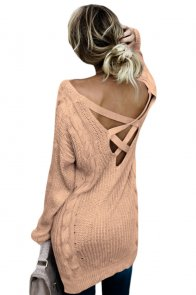 Khaki Modern Lady Cable Knit Sweater