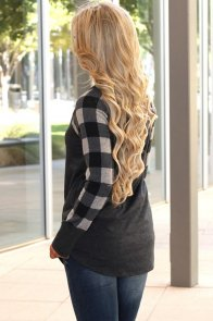 Monochrome Plaid Sleeve Charcoal Top