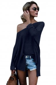 Navy Blue Oversized Knit High-low Slit Side Sweater