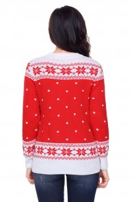 Red White Reindeer In The Snow Christmas Jumper