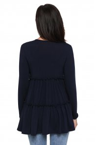 Navy Long Sleeve Layered Babydoll Tunic