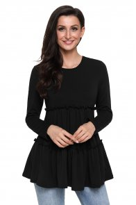 Black Long Sleeve Layered Babydoll Tunic