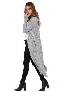 Grey Cable Knit Long Cardigan