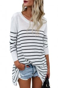 White Striped Knit Pullover Sweater Top