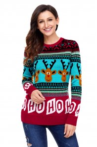 Cartoon Reindeer HO HO HO Christmas Sweater