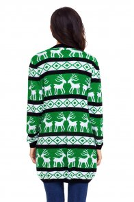 Black Green Reindeer Geometric Christmas Cardigan