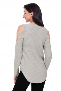 Gray Strappy Cold Shoulder Textured Sweater Top