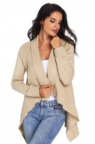 Apricot Waterfall Long Sleeve Sweater Cardigan