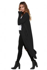 Black Cable Knit Long Cardigan