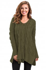 Army Green Oversized Cozy up Knit Sweater