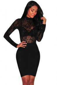 Black Sheer Mesh Geometric Velvet Bodysuit