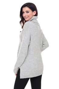 Gray Causal Knit High Neck Loose Sweater