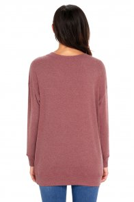 Rust Red Casual Pocket Style Long Sleeve Top