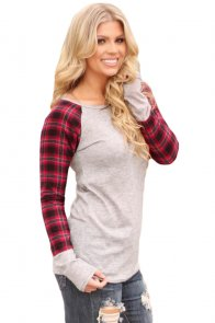 Red Black Plaid Sleeve Light Grey Top