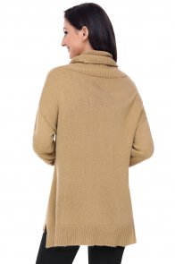 Khaki Causal Knit High Neck Loose Sweater