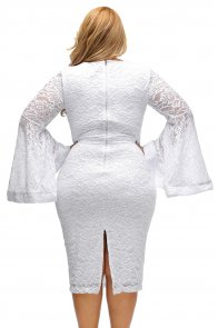 White Plus Size Bell Sleeves Lace Dress