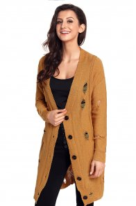 Khaki Distressed Button Cardigan