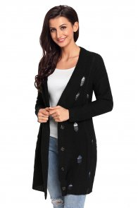 Black Distressed Button Cardigan