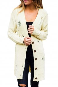 Beige Distressed Button Cardigan