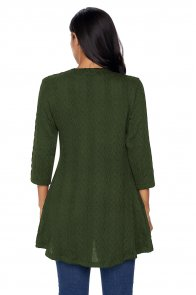 Olive Cable Knit Button Neck Swingy Tunic