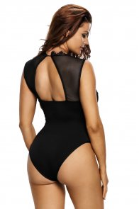 Black Lace High Neck Cut Out Back Bodysuit
