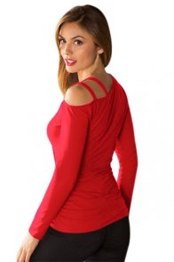 Red Ruched Asymmetric Top