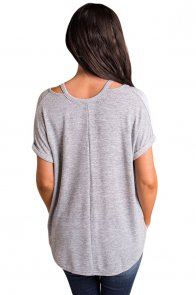 Relaxing Fit Cold Shoulder Knotted Top in Gray