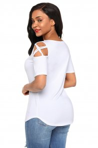 White Crisscross Cold Shoulder Short Sleeve Shirt