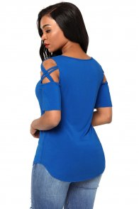Royal Blue Crisscross Cold Shoulder Short Sleeve Shirt