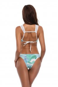 Green Leaf Print Cutout Mesh Monokini Swimsuit