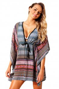 Blue Multicolor Bohemian Print Caftan Cover-up